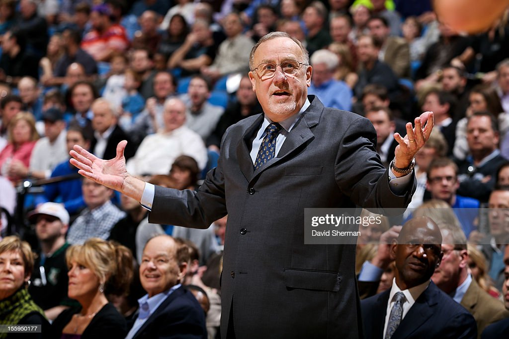 Head Coach Rick Adelman of the Minnesota Timberwolves reacts as his team plays the Indiana Pacers on November 9, 2012 at Target Center in Minneapolis, Minnesota.