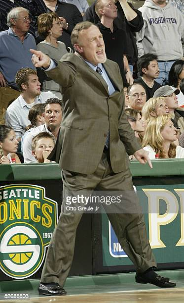 Head Coach Rick Adelman of the Sacramento Kings in action against the Seattle SuperSonics in Game one of the Western Conference Quarterfinals during...