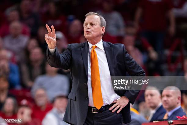 Head Coach Rick Barnes of the Tennessee Volunteers directs his team during a game against the Arkansas Razorbacks at Bud Walton Arena on February 26,...