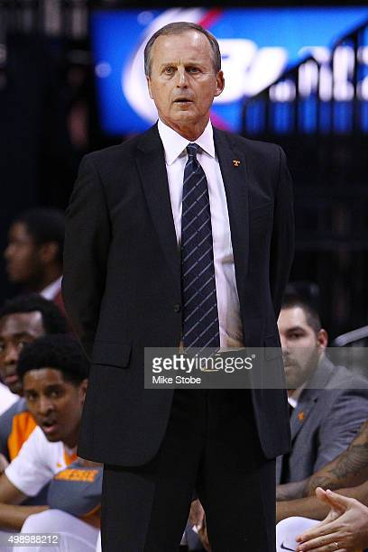 head coach Rick Barnes of the Tennessee Volunteers looks on from the bench against the George Washington Colonials at Barclays Center on November 27...