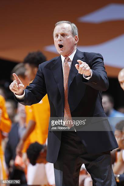 Head coach Rick Barnes of the Tennessee Volunteers reacts in the second half of the game against the Kentucky Wildcats at ThompsonBoling Arena on...