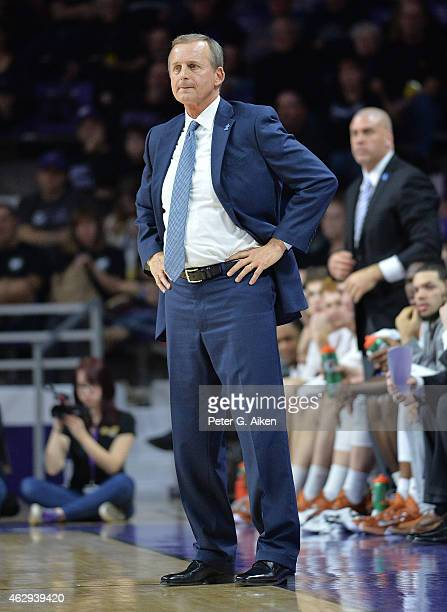 Head coach Rick Barnes of the Texas Longhorns looks down the court against the Kansas State Wildcats during the first half on February 7 2015 at...