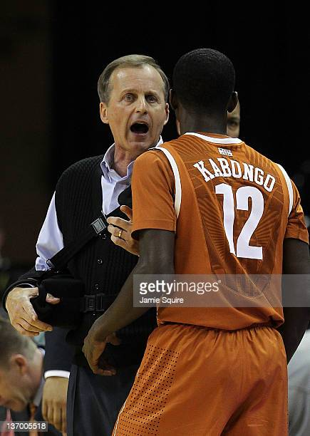 Head coach Rick Barnes of the Texas Longhorns talks with Myke Kabongo during the game against the Missouri Tigers on January 14 2012 at Mizzou Arena...