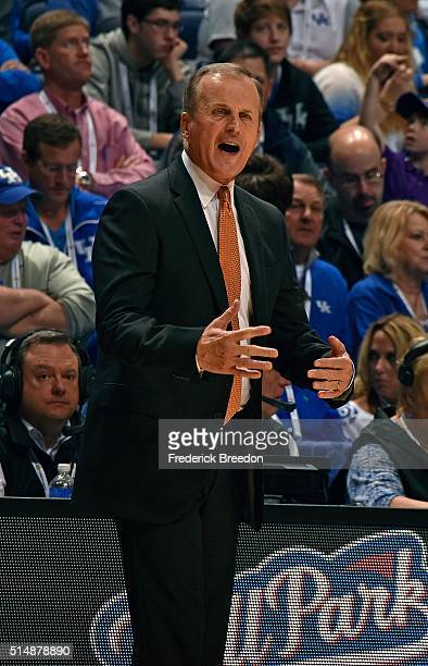 Head coach Rick Barnes of the University of Tennessee Volunteers coaches during the first half of an SEC Tournament Quarterfinal game against LSU at...