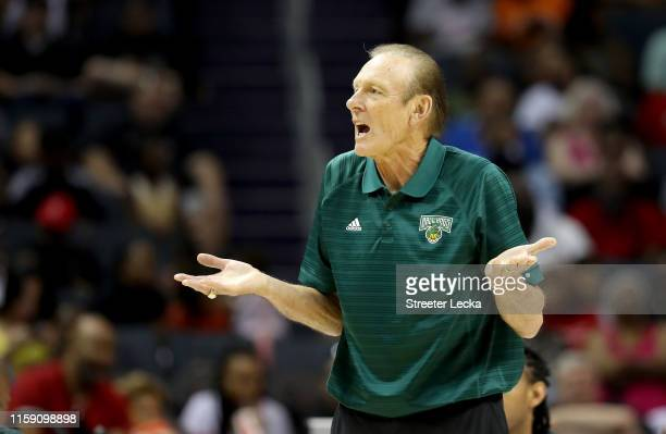 Head coach Rick Barry of Ball Hogs reacts against Enemies during week two of the BIG3 three on three basketball league at Spectrum Center on June 29,...