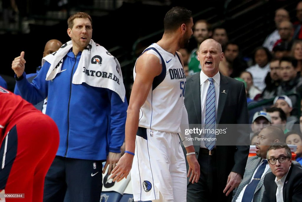 Head coach Rick Carlisle of the Dallas Mavericks and Salah Mejri #50 of the Dallas Mavericks react after Salah Mejri #50 of the Dallas Mavericks is ejected from the game against the Washington Wizards at American Airlines Center on January 22, 2018 in Dallas, Texas.