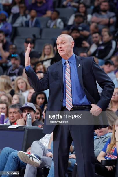 Head Coach Rick Carlisle of the Dallas Mavericks coaches against the Sacramento Kings on February 3 2018 at Golden 1 Center in Sacramento California...