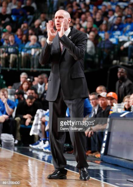 Head coach Rick Carlisle of the Dallas Mavericks coaches during the game against the San Antonio Spurs on December 12 2017 at the American Airlines...