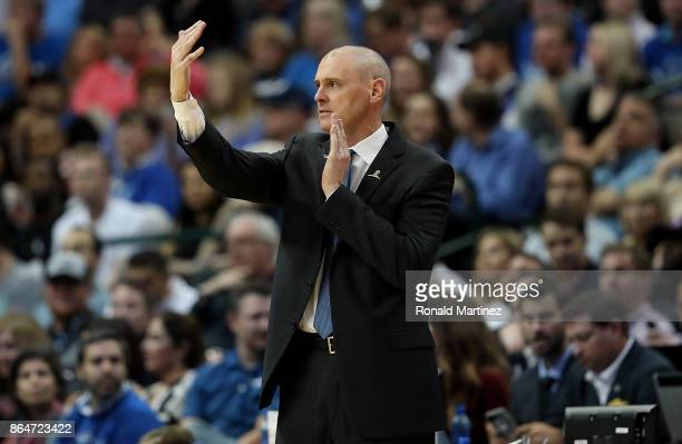 Head coach Rick Carlisle of the Dallas Mavericks during play against the Atlanta Hawks at American Airlines Center on October 18 2017 in Dallas Texas...