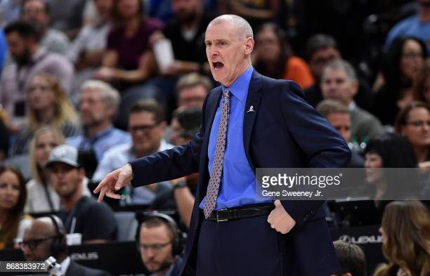 Head coach Rick Carlisle of the Dallas Mavericks gestures from the sideline in the second half of their 10489 loss to the Utah Jazz at Vivint Smart...