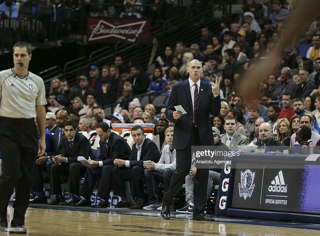 Head coach Rick Carlisle (R) of the Dallas Mavericks leads the Mavericks against the Atlanta Hawks at American Airlines Center on December 22, 2014 in Dallas, Texas.