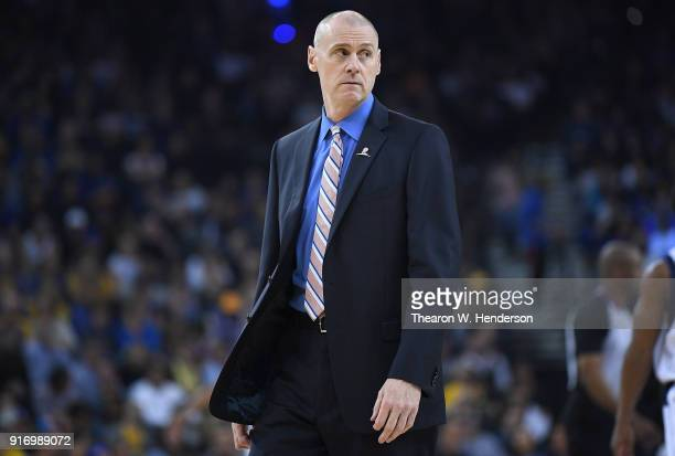 Head coach Rick Carlisle of the Dallas Mavericks looks on after calling a time out against the Golden State Warriors during an NBA basketball game at...