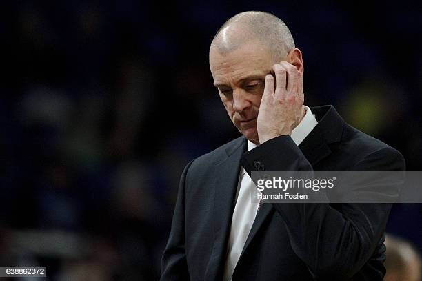 Head coach Rick Carlisle of the Dallas Mavericks looks on during the game against the Minnesota Timberwolves on January 9 2017 at the Target Center...