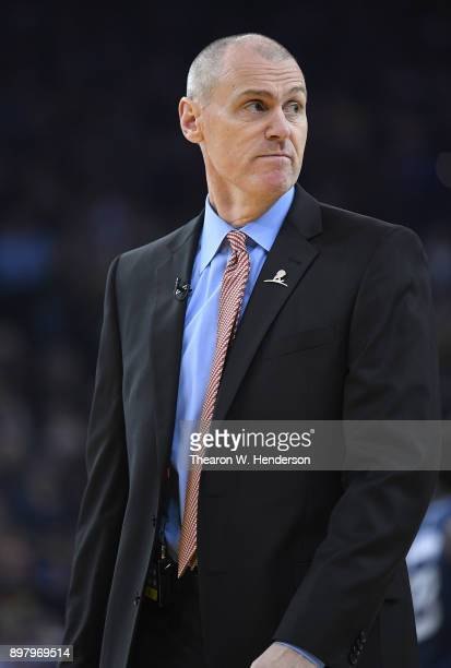 Head coach Rick Carlisle of the Dallas Mavericks looks on while there's a time out against the Golden State Warriors during an NBA basketball game at...