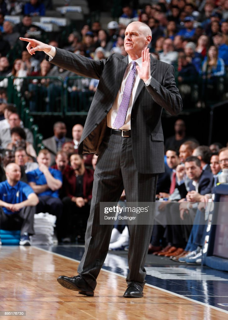 Head Coach Rick Carlisle of the Dallas Mavericks reacts to a play during the game against the Phoenix Suns on December 18, 2017 at the American Airlines Center in Dallas, Texas.
