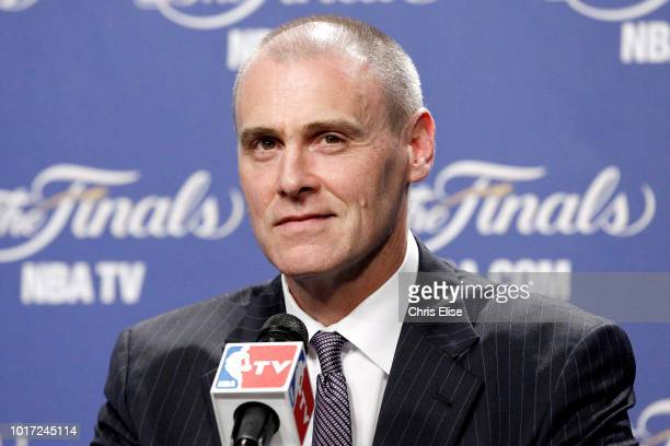 Head Coach Rick Carlisle of the Dallas Mavericks speaks to the media before the game between the Oklahoma City Thunder and the Miami Heat during Game...