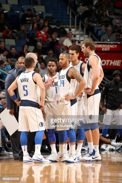 Head Coach Rick Carlisle of the Dallas Mavericks speaks to the team during the game against the New Orleans Pelicans on December 29 2017 at Smoothie...