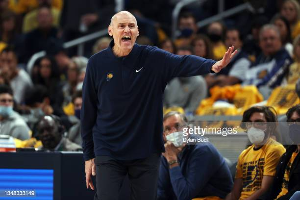 Head coach Rick Carlisle of the Indiana Pacers calls out instructions in the third quarter against the Miami Heat at Gainbridge Fieldhouse on October...