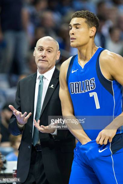 Head Coach Rick Carlisle talks with Dwight Powell of the Dallas Mavericks during a game against the Memphis Grizzlies at the FedEx Forum on October...