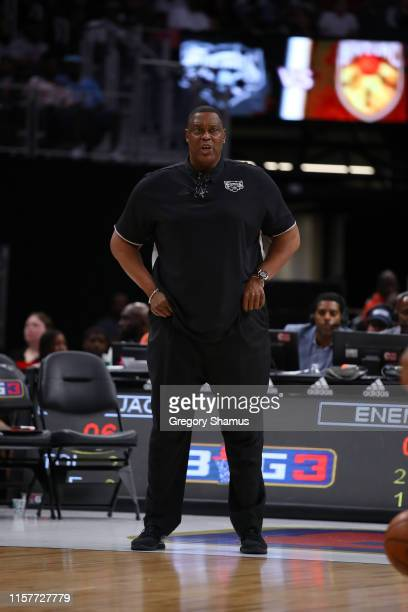 Head coach Rick Mahorn of Enemies looks on during week one of the BIG3 three on three basketball league at Little Caesars Arena on June 22, 2019 in...