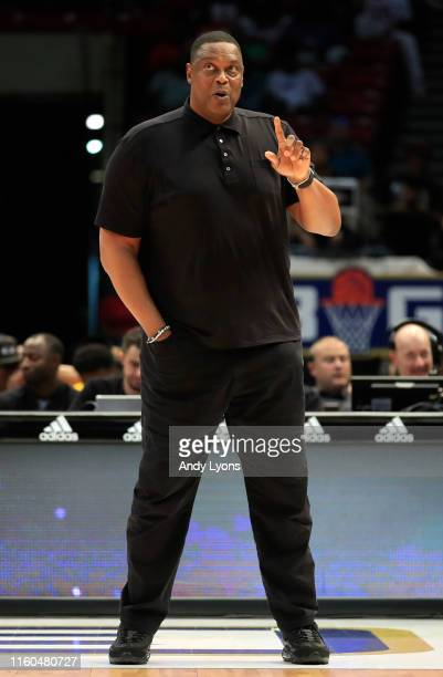 Head coach Rick Mahorn of the Enemies signals to his team during week three of the BIG3 three on three basketball league at Legacy Arena at the BJCC...