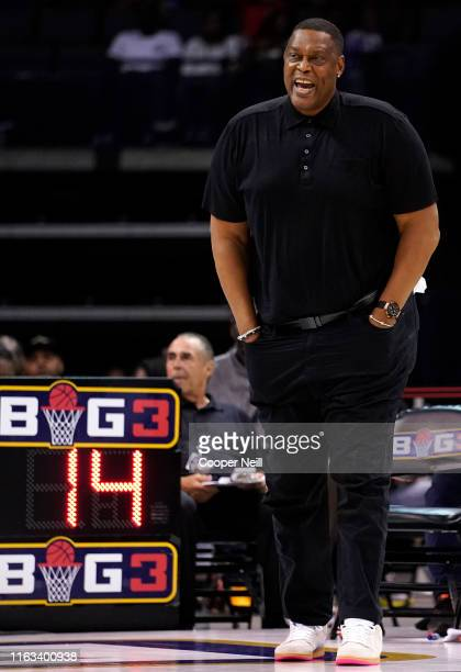 Head coach Rick Mahorn of the Enemies watches his team play against the Enemies during week five of the BIG3 three on three basketball league at...