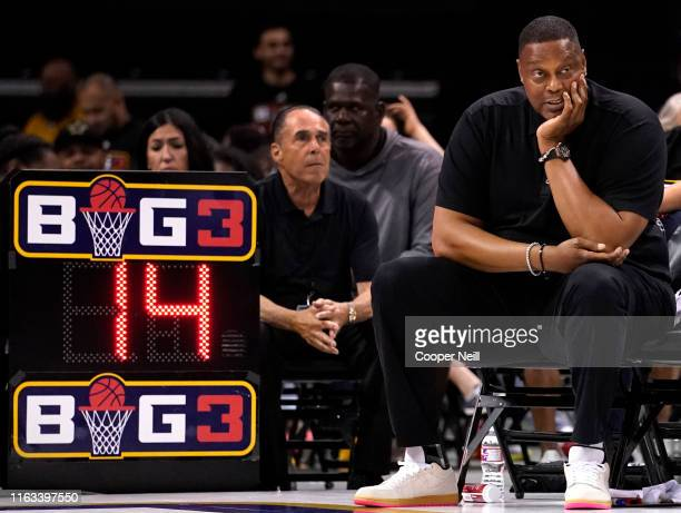 Head coach Rick Mahorn of the Enemies watches play between Trilogy and the Enemies during week five of the BIG3 three on three basketball league at...