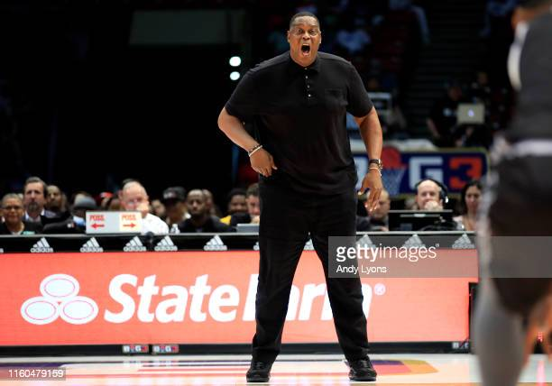 Head coach Rick Mahorn of the Enemies yells from the sidelines to his team during week three of the BIG3 three on three basketball league at Legacy...