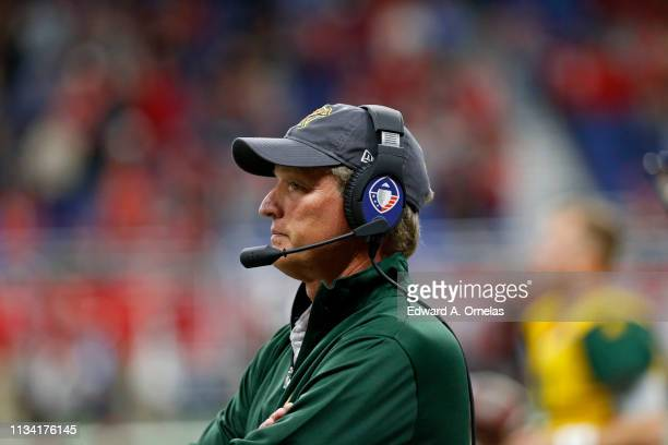 Head coach Rick Neuheisel of the Arizona Hotshots on the sidelines during an Alliance of American Football game against the San Antonio Commanders at...
