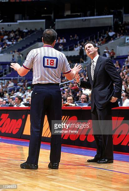 Head coach Rick Pitino of the Boston Celtics listens to the referee during a game against the Los Angeles Clippers at the Staples Center on December...