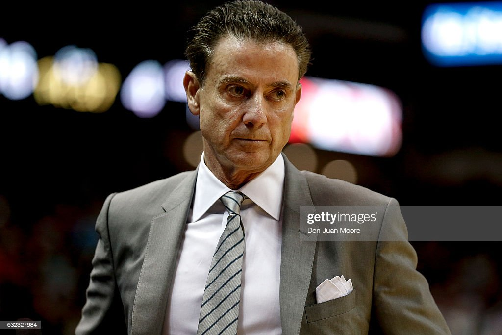 Head Coach Rick Pitino of the Louisville Cardinals during the game against the Florida State Seminoles at the Donald L. Tucker Center on January 21, 2017 in Tallahassee, Florida. The 10th ranked Seminoles defeated the 12th ranked Cardinals 73 to 68.