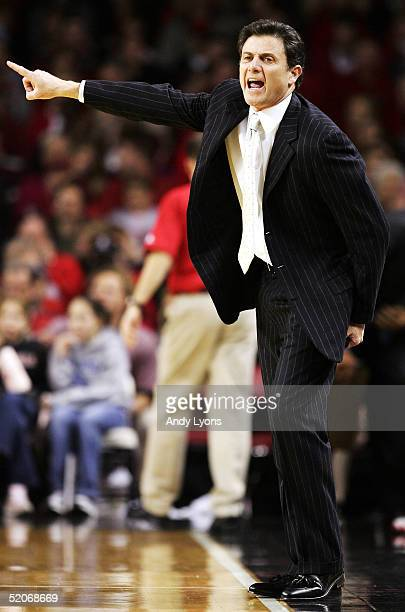 Head coach Rick Pitino of the Louisville Cardinals instructs his team during the game against the Marquette Golden Eagles at Freedom Hall on January...