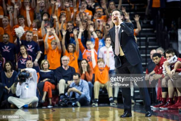 Head coach Rick Pitino of the Louisville Cardinals shouts to his team during Louisville's game against the Virginia Cavaliers at John Paul Jones...
