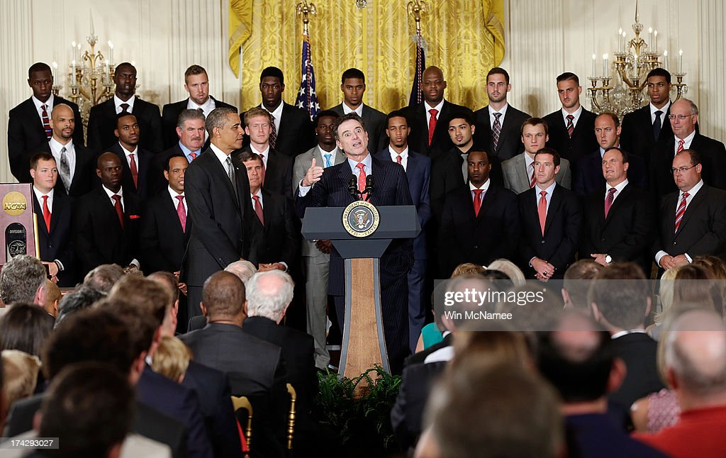 Head coach Rick Pitino speaks with U.S. President Barack Obama during an event honoring the Louisville Cardinals, the 2013 NCAA Men's Basketball Champions, in the East Room of the White House July 23, 2013 in Washington, DC. The Louisville Cardinals defeated the Michigan Wolverines in the championship game by a score of 82-76.