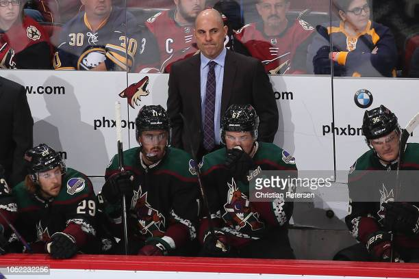 Head coach Rick Tocchet of the Arizona Coyotes during the NHL game against the Buffalo Sabres at Gila River Arena on October 13 2018 in Glendale...