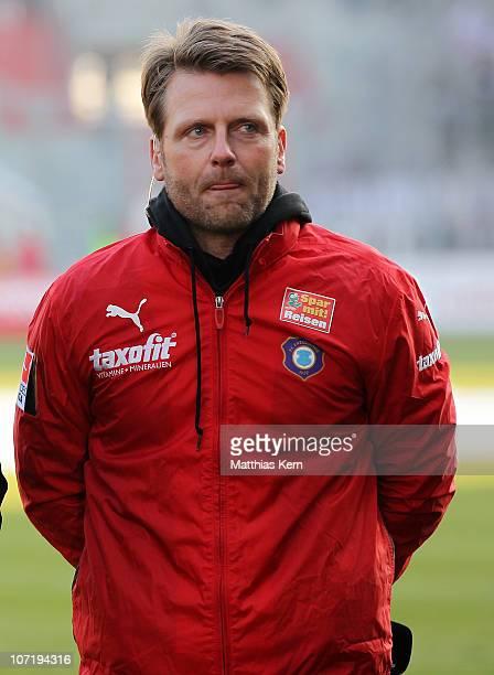 Head coach Rico Schmitt of Aue is seen prior to the Second Bundesliga match between FC Energie Cottbus and Erzgebirge Aue at Stadion der Freundschaft...