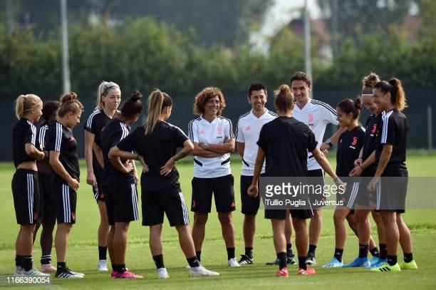 Head coach Rita Guarino leads a Juventus Women training session at Juventus Center Vinovo on August 06, 2019 in Vinovo, Italy.