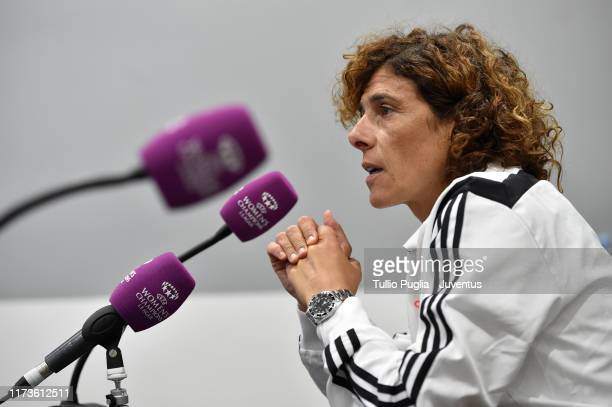 Head coach Rita Guarino of Juventus Women takes part in a press conference prior to UEFA Women's Champions League match between Juventus Women and...