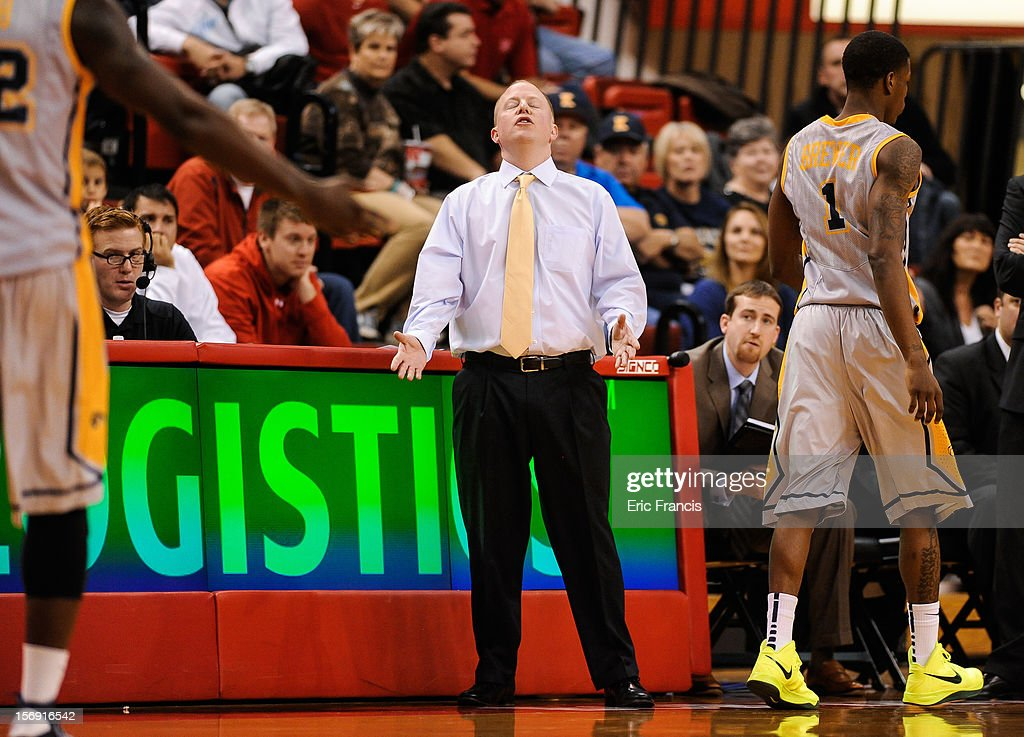 Head coach Rob Senderoff of the Kent State Golden Flashes reacts to a foul during their game against the Nebraska Cornhuskers at The Devaney Center on November 24, 2012 in Lincoln, Nebraska. Kent State Beat Nebraska 74-60.