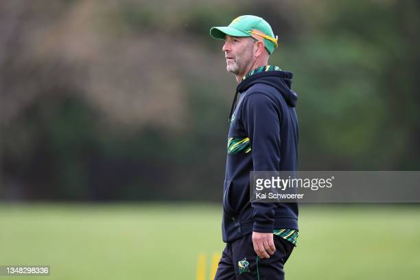 Head Coach Rob Walter of the Central Stags looks on during the Plunket Shield match between Canterbury and Central Stags at Hagley Oval on October...