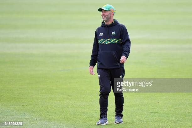Head Coach Rob Walter of the Central Stags reacts during the Plunket Shield match between Canterbury and Central Stags at Hagley Oval on October 24,...