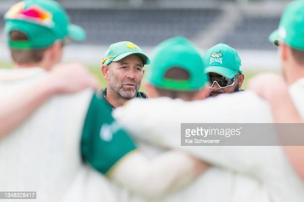 Head Coach Rob Walter of the Central Stags speaks to his players during the Plunket Shield match between Canterbury and Central Stags at Hagley Oval...