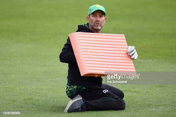 Head Coach Rob Walter of the Central Stags warms up during the Plunket Shield match between Canterbury and Central Stags at Hagley Oval on October...