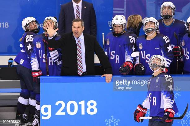 Head coach Robb Stauber of the United States gestures in the third period against Canada during the Women's Gold Medal Game on day thirteen of the...