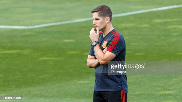 Head coach Robert Moreno of Spain looks on during a Spain international training session at on September 02 2019 in Las Rozas Spain