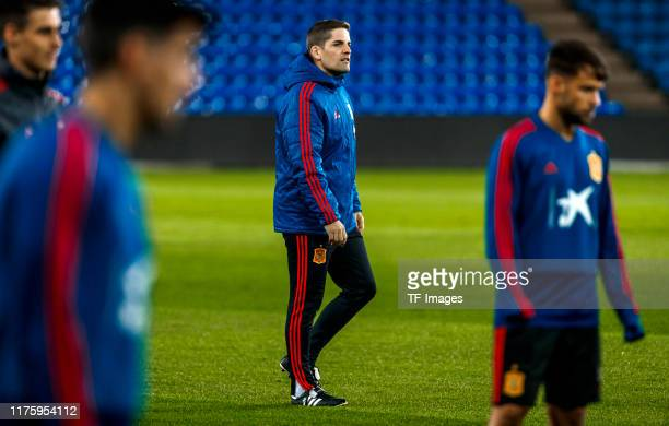 Head coach Robert Moreno of Spain looks on during the training session of Spain on October 11 2019 in Oslo Norway