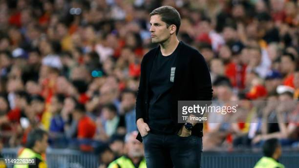 Head coach Robert Moreno of Spain looks on during the UEFA Euro 2020 qualifier match between Spain and Sweden at Bernabeu on June 10 2019 in Madrid...