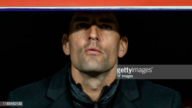 Head coach Robert Moreno of Spain looks on during the UEFA Euro 2020 Qualifier between Spain and Romania on November 18 2019 in Madrid Spain