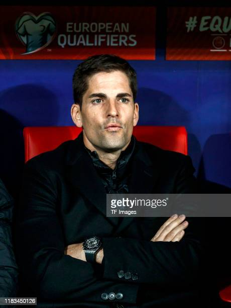 Head coach Robert Moreno of Spain smiles during the UEFA Euro 2020 Qualifier between Spain and Romania on November 18 2019 in Madrid Spain