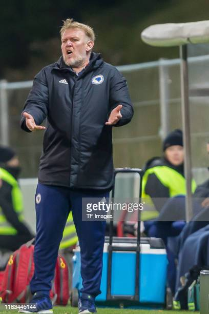 Head coach Robert Prosinecki of Bosnia and Herzegovina gestures during the UEFA Euro 2020 Qualifier between Liechtenstein and Bosnia and Herzegovina...